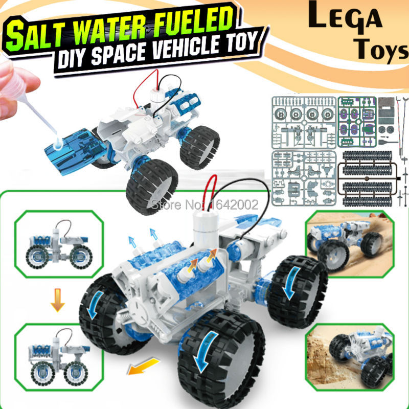 Salt water Engine Car Kit fueled DIY space vehicle toy,Bine Power Robot Blocks Science Model kit Educational Toys for children(China (Mainland))
