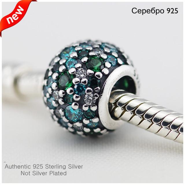 Новый стерлингового серебра 925 оригинальный бусины проложить мяч шарм с зеленый CZ DIY для женщин подходит пандоры прелести браслет