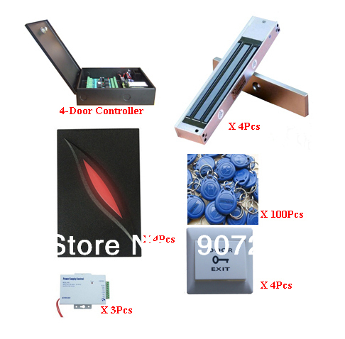 Complete 4 Door TCP/IP Networking Single Way RFID Proximity Card Access Control System(China (Mainland))