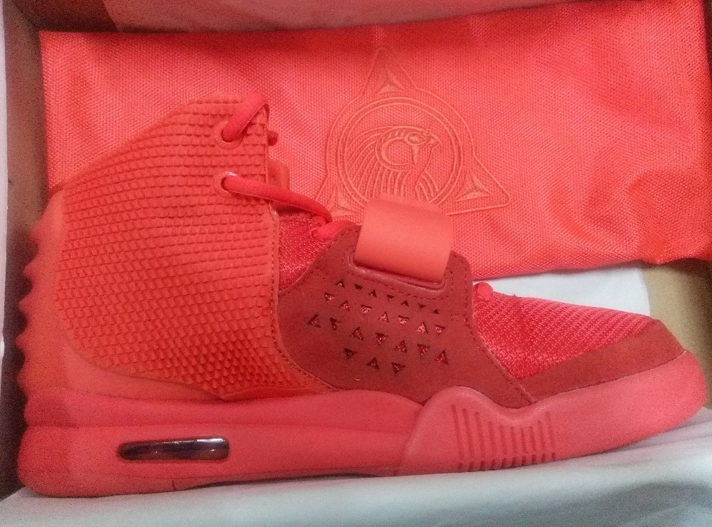free shipping Mens Basketball Shoes Super Perfect Kanye West Yeezy ii 2 Red October size 8-13 for sale cheap Trainers shoe(China (Mainland))