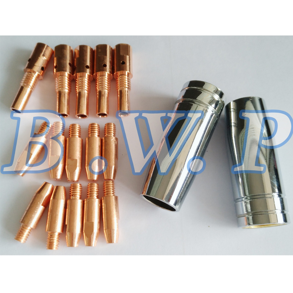 Contact Tips Holder Nozzles Consumables Kit For MB 25AK MIG Welding Torch M6*28*0.8, 17pcs(China (Mainland))