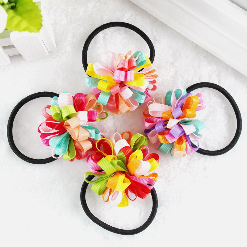 TS New 2015 Colorfully Boutique Bows Elastic Hair band for girl and woman hair Accessories Ribbon Bow Hair Tie Rope Hair Band(China (Mainland))