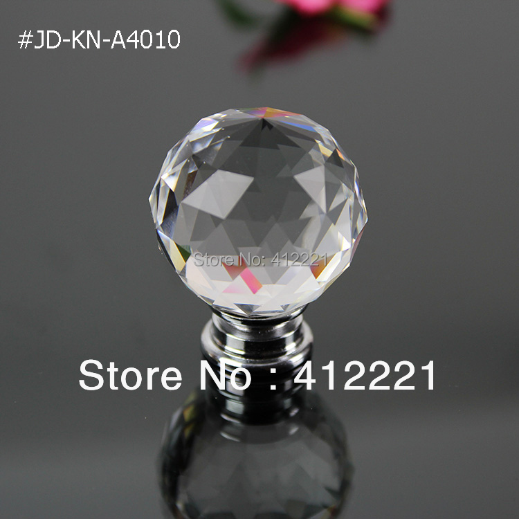 Free shipping 10 Pcs 40 mm Crystal Glass Clear White Furniture Handle and Knobs In Chrome Zinc Alloy Hardware Home Crafts(China (Mainland))