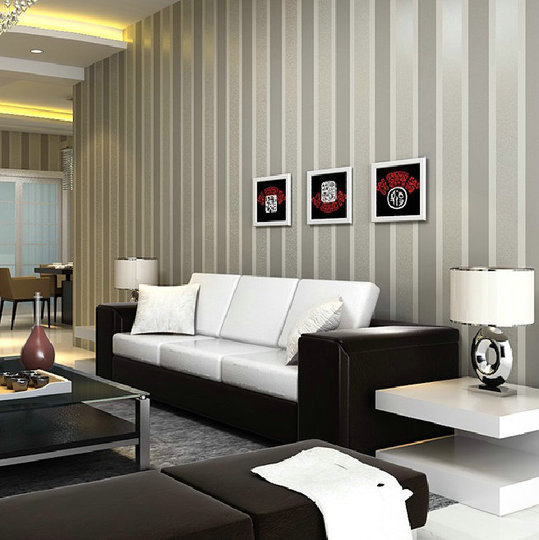 Italian style modern 3d embossed strip wallpaper for Grey silver wallpaper living room