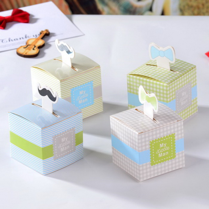 bowtie candy box little man gift package mustache and tie baby shower