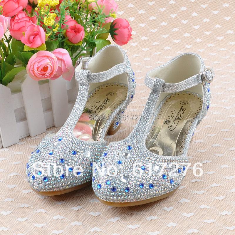 Girls Fashion Shoes Children 2015 Child High Heels Rhinestone Wedding Party Pink, Gold ,Silver  -  Hello Club Online Store store