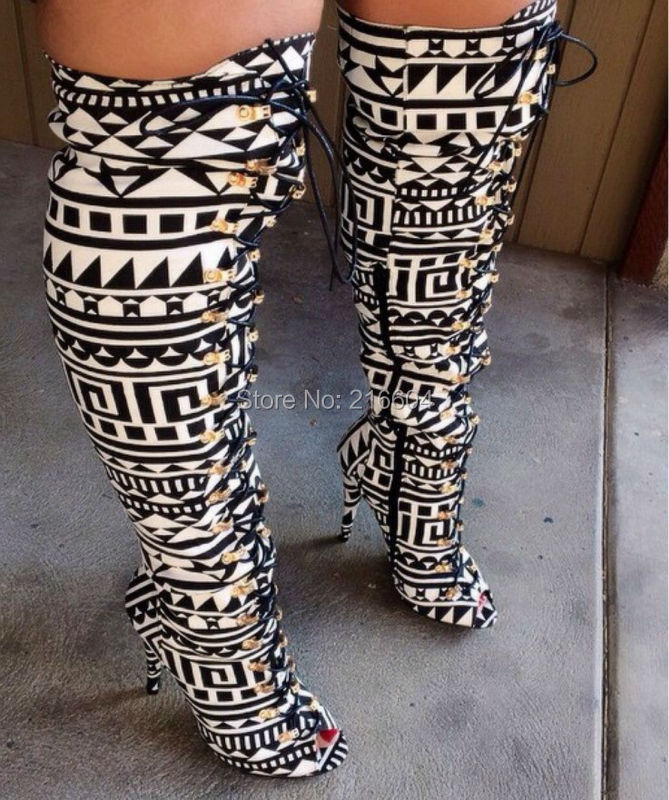 Newest Top Quality Elegant Black White Tribal Lace Up Peep Toe Thigh High Boot Sexy Tight High Gladiator Sandals Boots(China (Mainland))