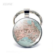 Australia Mapa vidrio cabujón colgante llavero Nueva Zelanda mapa Domo llavero moda recuerdo joyería regalo para Mujeres Hombres(China)