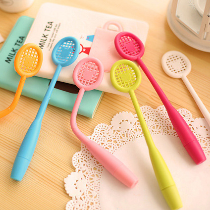 2015 New (12 pieces/lot) Korea creative stationery badminton racket ball point pens bendable ballpoint pen Student supplies gift(China (Mainland))
