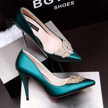 Women Pumps Noble Heels Shoes Fashion Heels Shallow Mouth rhinestone Sexy Thin heel  Women Shoes 315-6