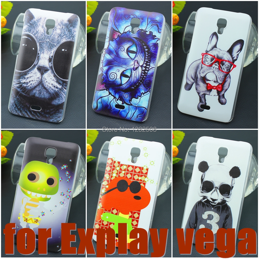 Luxury painting Hard Plastic Case for Explay Vega PC Cover Cute Animal Dog Cat Flowers Cinderella PC Cell Phone case(China (Mainland))