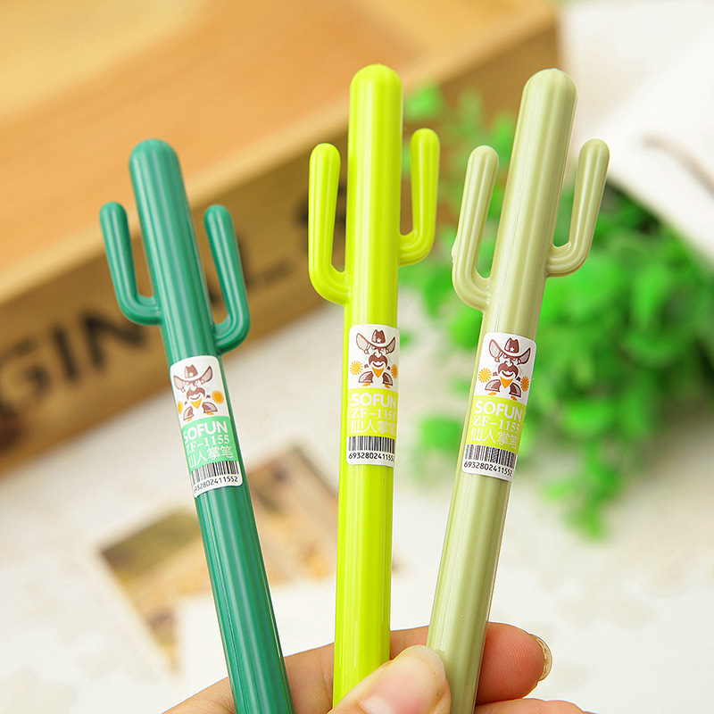 12pcs/lot 0.38mm Creative Kawaii Cactus Black Ink Gel Pen Cute Pens for Writing Stationery Accessories Office School Supply(China (Mainland))