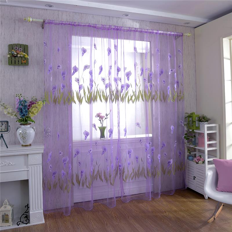 Home Textile Living Room Bedroom Window Curtain Sheer Alocasia Flower Printed Voile Curtain Drape Panel 100*270cm 1 Pc(China (Mainland))