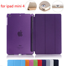 For iPad Mini4 Ultra Slim Magnetic Smart Cover PU Leather Case with clear transparent back case for Apple iPad Mini 4(China (Mainland))