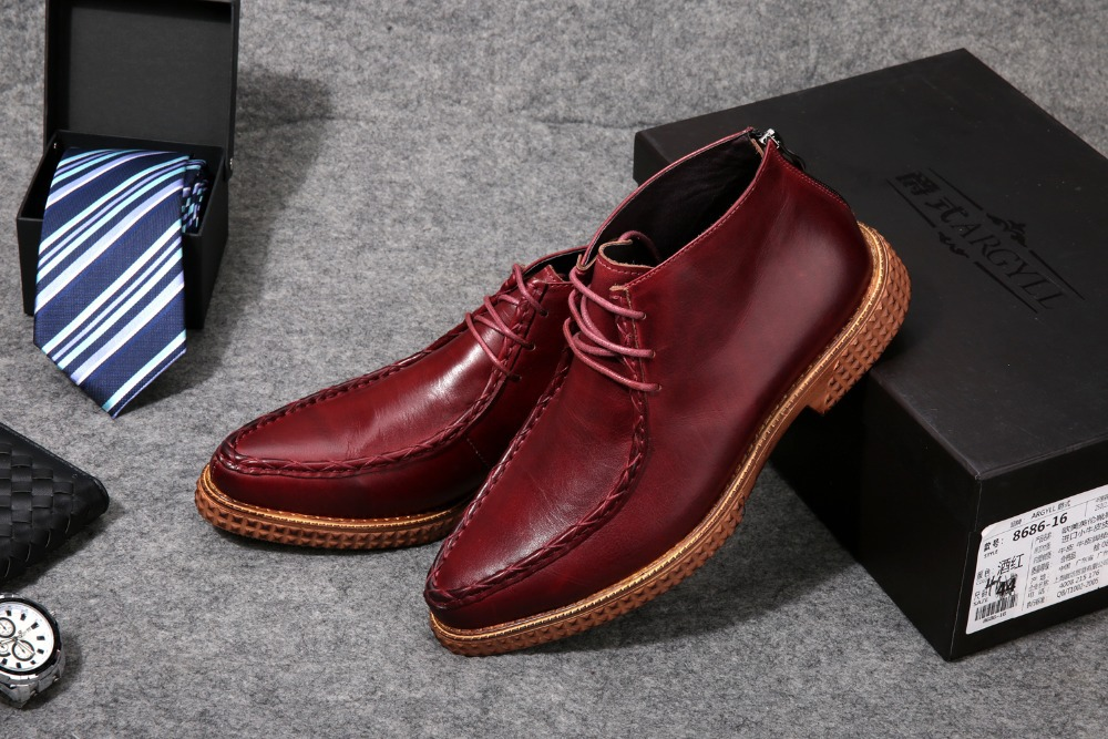 Brand Coffee / black mens wedding shoes genuine leather mens ankle boots casual business shoes men formal shoes free shipping(China (Mainland))