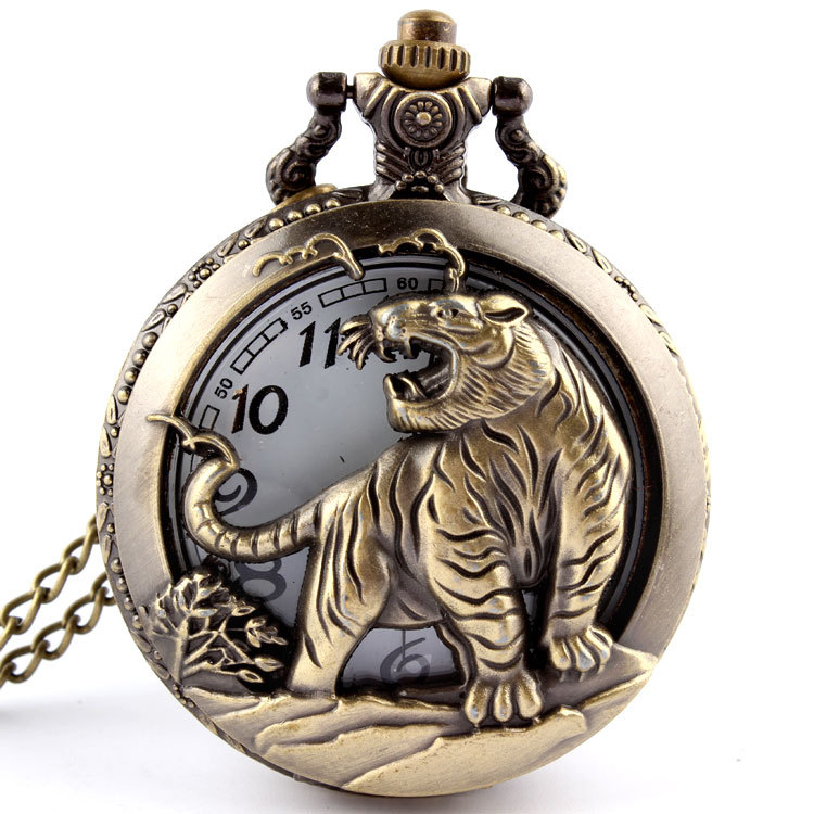 Bronze Tiger Hollow Quartz Pocket Watch Necklace Pendant Womens Men GIfts P251  -  SHINNING WATCH Store store