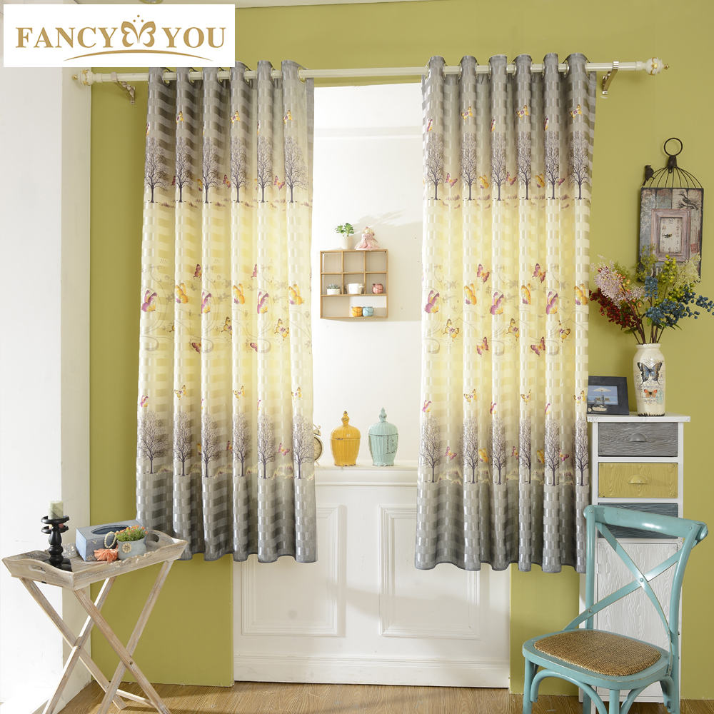 Butterfly Blackout Short Window Curtains For Living Room Curtains For Bedroom Window Treatments
