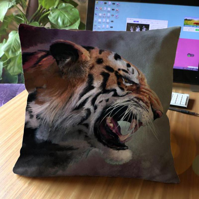 Free Shipping Creative Animal World Lion Leopard Tiger Pattern Decorative Soft Short Plush Throw Pillow Cushion For Cafe(China (Mainland))