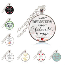 Buy am Beloved's Beloved Mine Song Solomon 6:3 Bible Verse Pendant Necklace, Christian Scripture, Wedding Decor, for $9.95 in AliExpress store