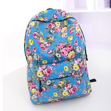 The new 2015 quarter selling backpack National roses canvas effect female bag girl,s flowers school bag Rural amorous travel bag