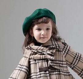 Wholesale 6pcs 2016 Pretty Girl Plain Wool Beret Caps NEW Boy Spring Blank Felt Berets Hats Kid Fall Wool Caps Children Trilby(China (Mainland))