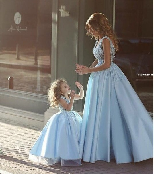 2016 new wedding dresses sky blue floor length lace satin for Mother daughter dresses for weddings