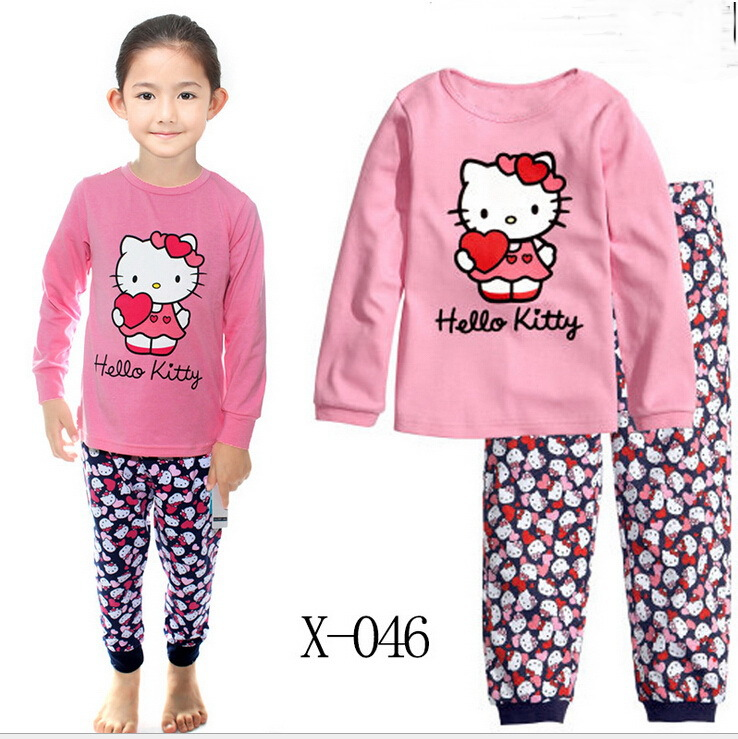 kids clothes Sets boys girls hello kitty T shirt+pant 2 pcs set long sleeve pajamas 100% Cotton children's winter clothing sets(China (Mainland))