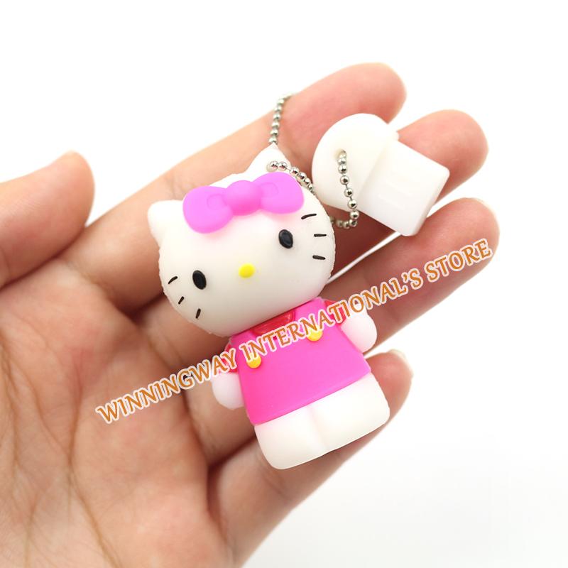 Funny mini usb flash drive hello kitty pendrive 8GB 16GB 32GB pen drive memory flash drive wholesale(China (Mainland))