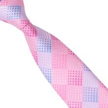 2015 Fashion Slim Tie Pink Light blue Plaid Skinny Narrow Gravata Silk Jacquard Woven Neck Ties