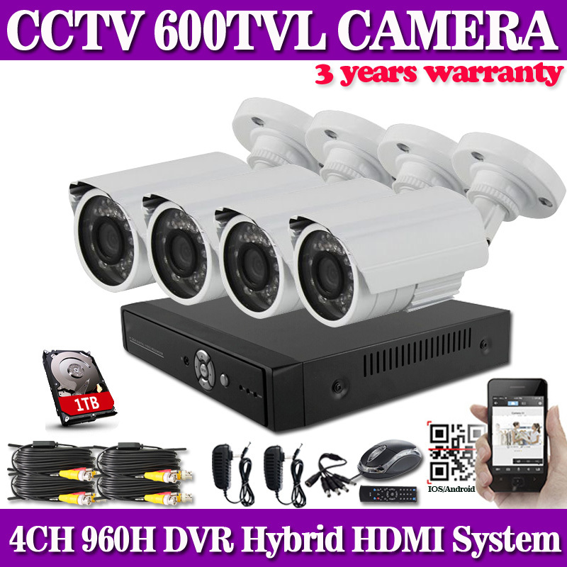 CCTV 4 Channel 960H DVR Security System with 1TB HDD and 4 x 600TVL IR Night Vision Outdoor Cameras home security camera system<br><br>Aliexpress