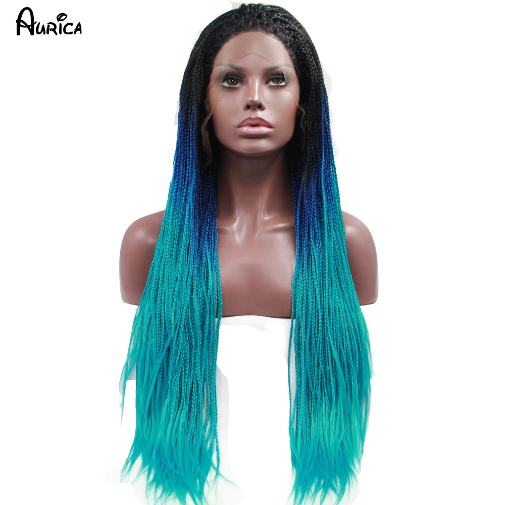 Fashion Ombre Blue Braiding Synthetic Lace Front Wig Straight Heat Resistant Hair Natural Black/Blue Big Box Braids Woman Wigs<br><br>Aliexpress