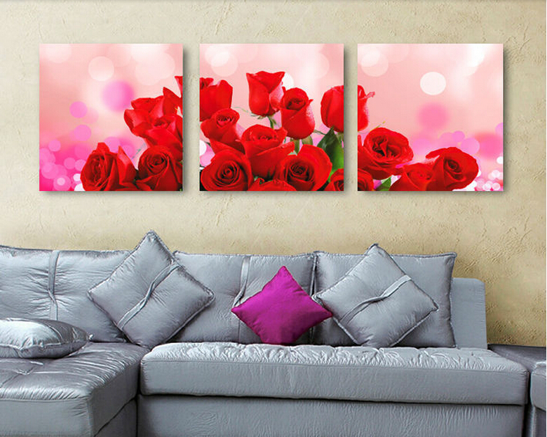 (Un(Unframed)3 Pcs Beautiful Red Rose Modern Painting On Canvas Wall Art Modern Living Room Wall Home Decoration Pictures(China (Mainland))