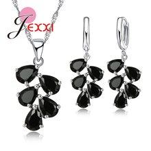 Feine 925 Sterling Silber Schmuck Set Für Frauen Dame Beste Geschenk Für Geburtstag Jahrestag AAA Zirkon Halskette Ohrringe(China)