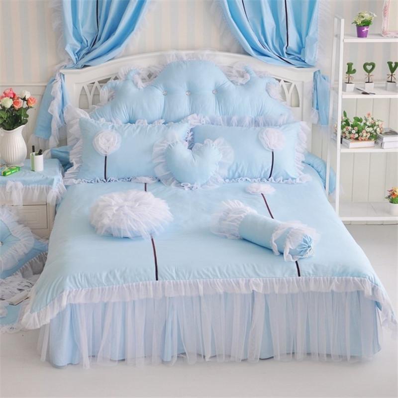 Korean pastoral princess cotton lace Splice flower bedding set bedding decoration duvet cover bedspread textile bedclothes(China (Mainland))