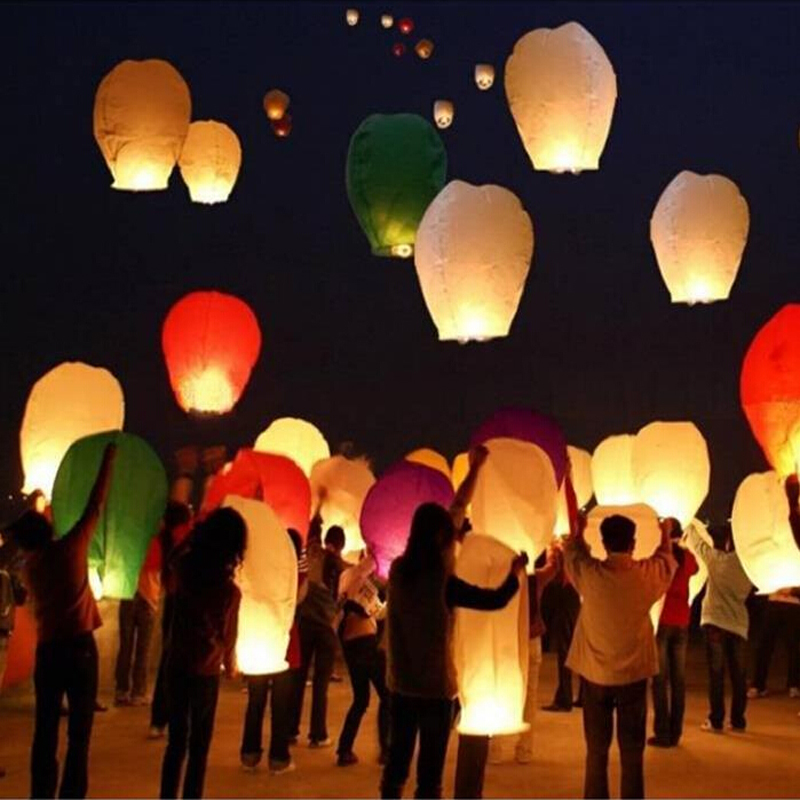 10pc Wishing Lamp Round Paper Chinese Lanterns Kongming Flying Paper Sky Lanterns For Wedding Bachelorette Party Balloons(China (Mainland))