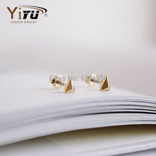 1pc Gold&Silver&Rose Gold Plated Solid Triangle Cartilage Men's Cool Earrings Fashion Trigonal Pyramidal Cute Ear StudE006(China (Mainland))