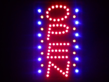 "nled110-r OPEN Vertical Bar NEW LED Neon Sign 16"" x 10""(China (Mainland))"