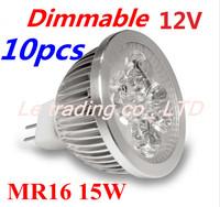 10pcs/lot MR16 5X3W 15W Dimmable Led Lamp Spotlight Led Light Downlight 12V  Free shipping