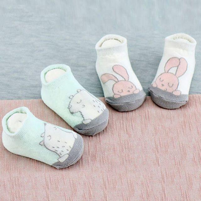 Дети Ребенок Мультфильм Медведь Кролик Шаблон Носки противоскользящие Новорожденных милые теплые Носки