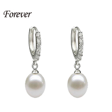 100% genuine brand pearl jewelry natural pearl earrings cultured freshwater pearls with 925 silver,earring women girl best gifts(China (Mainland))