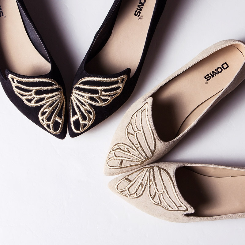 2016 New Spring Butterfly Embroidery Women Shoes  Pointed Flat Elegant Shoes<br><br>Aliexpress
