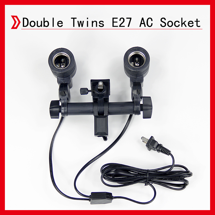 Photo Studio Double Twins E27 AC Socket & Cord Set with Umbrella Holder and Light Stand Mount Adjustable(China (Mainland))