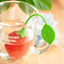Reuseable Silicone Red Strawberry Shape Tea Bag Punch Filter Infuser Strainer