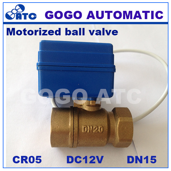 "CWX-20P DN15 1/2"" BSP 2 way brass MINI motorized ball valve , Actuator control valve DC12V CR05 5 wires control(China (Mainland))"