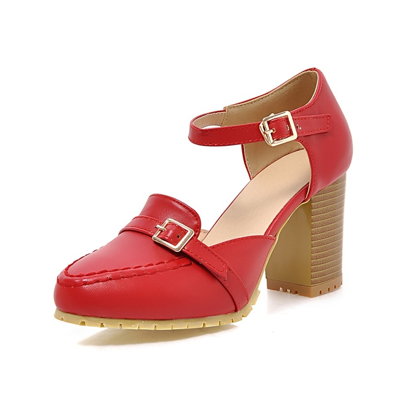2016 pumps square heels high red beige black shoes woman round toe