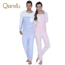 Fashion Patchwork Pyjamas O-neck Sleepwear Men Long Sleeve Pajamas Sleep Women Pajama Set Free Shipping(China (Mainland))