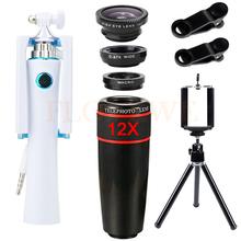 Buy 12X Telephoto Zoom Lenses Telescope Wide Angle Macro Fisheye lens iPhone Cell Phone Lentes Mobile Tripod Mini Selfie Stick for $18.14 in AliExpress store