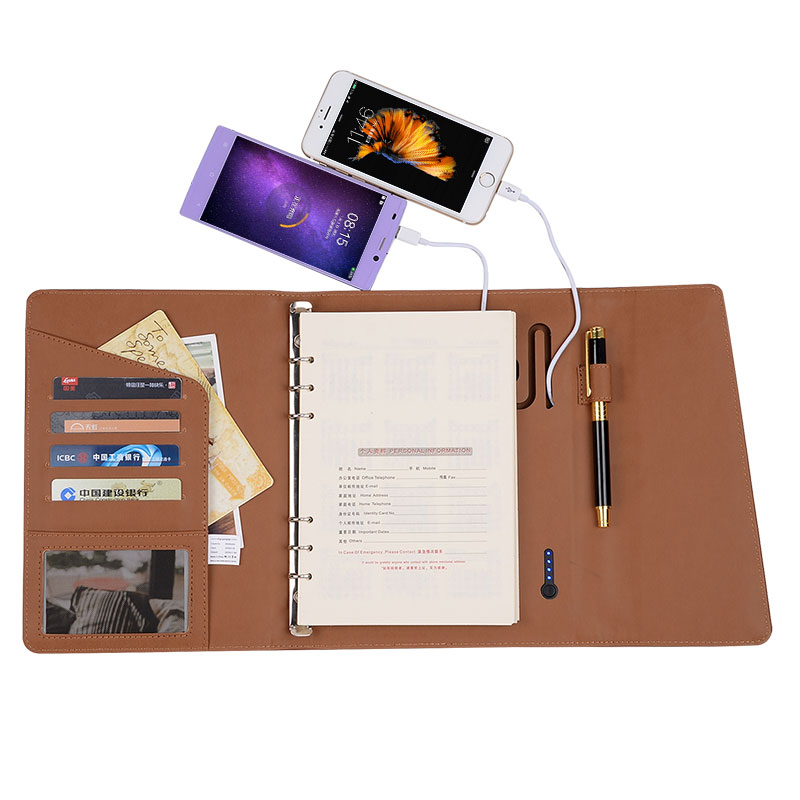 ONLVAN Fashion Notebook with 6000mAh Creative Desgin Business Notebook with Power Bank Office Supply Supper Gift Customized(China (Mainland))