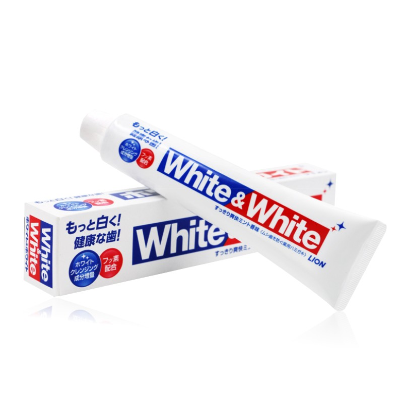 Japan Lion White&White Toothpaste Dental daily use whitening teeth Remove smokers stains, Fights plaque &decay strengthen teeth