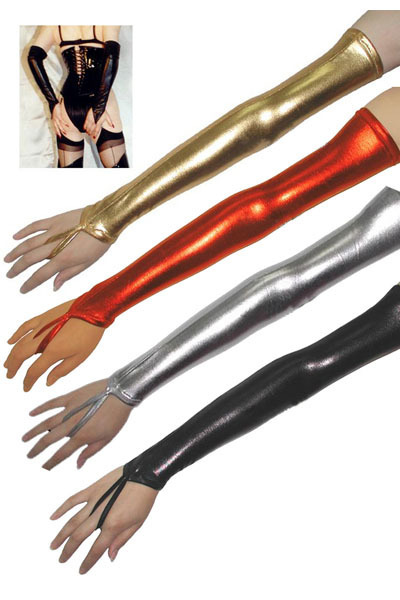 4 colors !! European and US Paint Leather nightclub Parent long Gloves Mittens Women's Stage gloves club wear(China (Mainland))